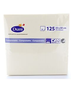 33 x 33cm Duni White Tissue Napkin 2ply Compostable
