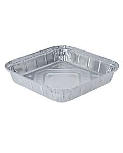 "1550cc 9x9"" Shallow Aluminium Foil Food Containers Recyclable"