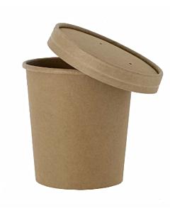 8oz Kraft Heavy Duty Soup Container & Paper Lid