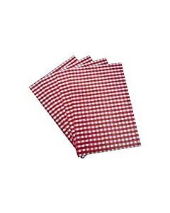 25x20cm Greaseproof Paper Gingham Print Red