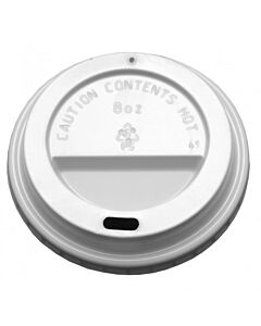 White Domed Sip Lid to Fit 8-9oz Hot Cup Recyclable