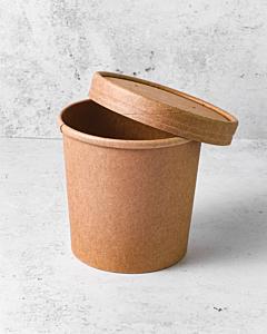 12oz Kraft Heavy Duty Soup Container & Paper Lid