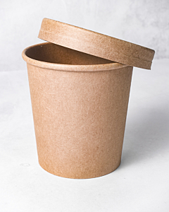 16oz Kraft Heavy Duty Soup Container & Paper Lid - Recyclable