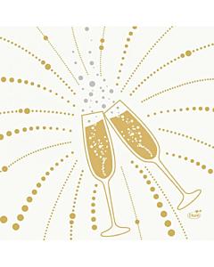 40cm Dunilin Festive Cheers White Napkins