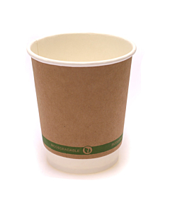 8oz Double Walled Compostable Cups Kraft