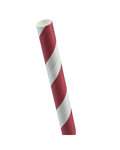 Red & White Striped Paper Smoothie Straw