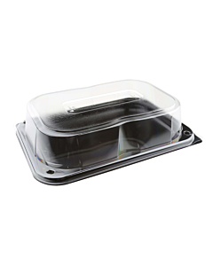 24 x 17cm Black Serving Platters with Lids - Small Recyclable