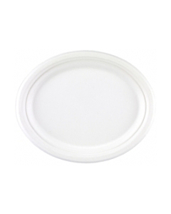 """12.75""""X 9.5"""" Oval Bagasse Plate"""