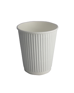 8oz White Ripple Paper Cups Recyclable