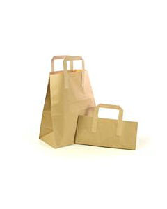 """Paper Carrier Bags with Handles for Takeaway Large 10 x 5 x 12"""" Plain Brown"""