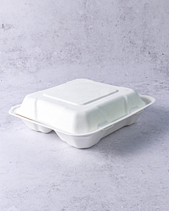 """8 x 8"""" Bagasse 3 Compartment Food Boxes Compostable"""