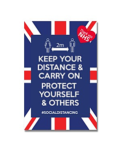 Keep Your Distance & Carry On Sign 300x400mm