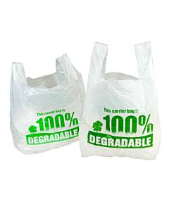 Degradable White Vest Carrier Bags - 11x17x21
