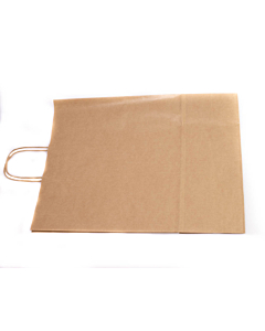 """12.5 x 4.5 x 16"""" Brown Kraft SOS Carrier Bags with Twist Handles Compostable"""
