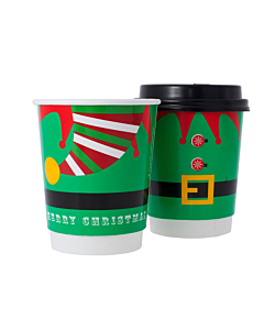 Elf 8oz Disposable Paper Christmas Cups Recyclable - Party Pack