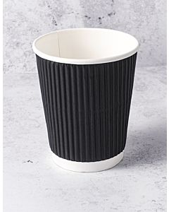 8oz Black Ripple Paper Cups Recyclable