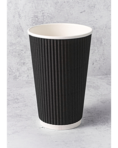 16oz Black Ripple Paper Cups Recyclable