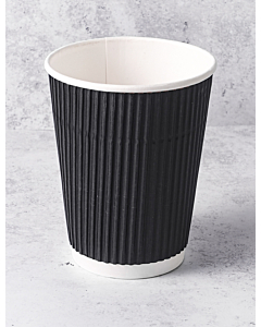 12oz Tall Black Ripple Paper Cups Recyclable