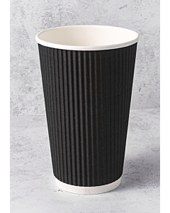 20oz Black Ripple Paper Cups Recyclable