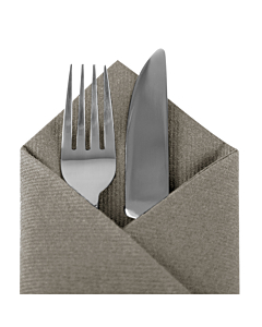 Mocha Brown Pop In Cutlery Paper Napkin 40cm