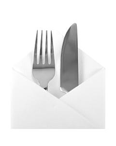 White Pop In Cutlery Bookfold Paper Napkin 40cm