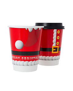 Santa 12oz Disposable Paper Christmas Cups Recyclable - Party Pack
