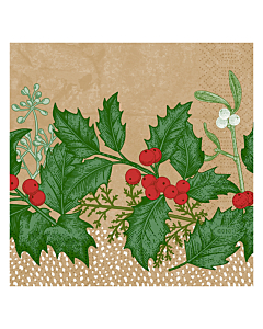 Snowy Berries Christmas Paper Napkins 24cm 3ply